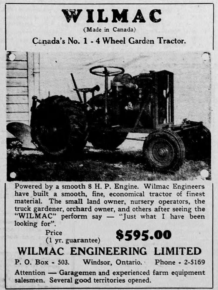 Wilmac Ad - Flesherton Newspaper, 1948